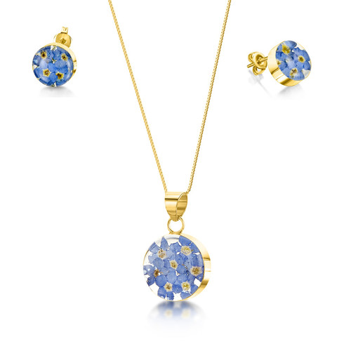 23K Gold Plated Sterling Silver Round Necklace and Earring Set - Real Flower