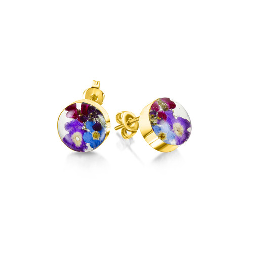 23K Gold Plated Sterling Silver Purple Haze Stud Earrings - Real Flower