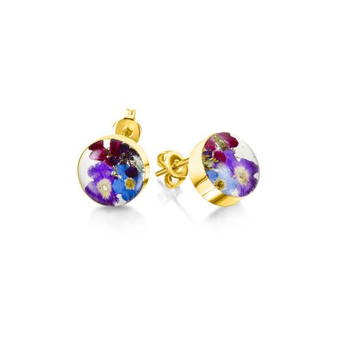 23K Gold Plated Sterling Silver Purple Haze Stud Earrings - Real Flower