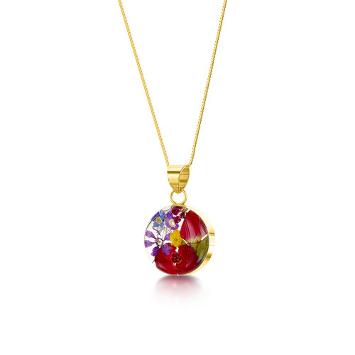 23K Gold Plated Sterling Silver Round Necklace - Mixed Real Flower