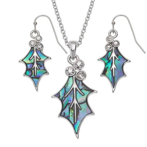 Tide Jewellery inlaid blue Paua shell  Holly Leaf pendant and earring set