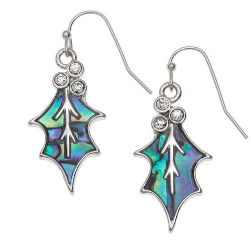 Tide Jewellery inlaid blue Paua shell  Holly Leaf Earrings