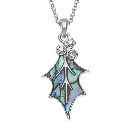 Tide Jewellery inlaid blue Paua shell  Holly Leaf Necklace