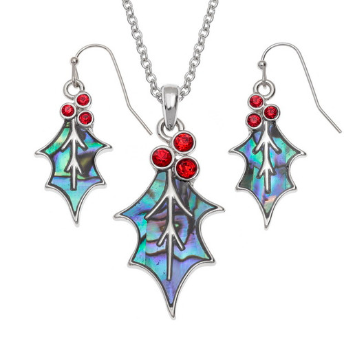 Tide Jewellery inlaid blue Paua shell  Redstone Holly leaf  pendant and earring set