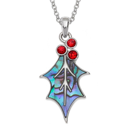 Tide Jewellery inlaid blue Paua shell  Redstone Holly Leaf Necklace