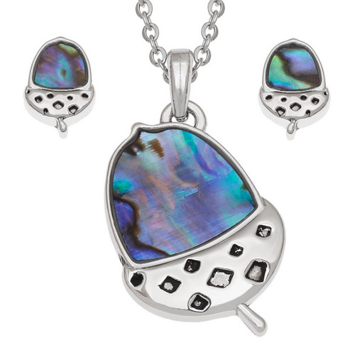Tide Jewellery inlaid blue Paua shell  Acorn  pendant and earring set