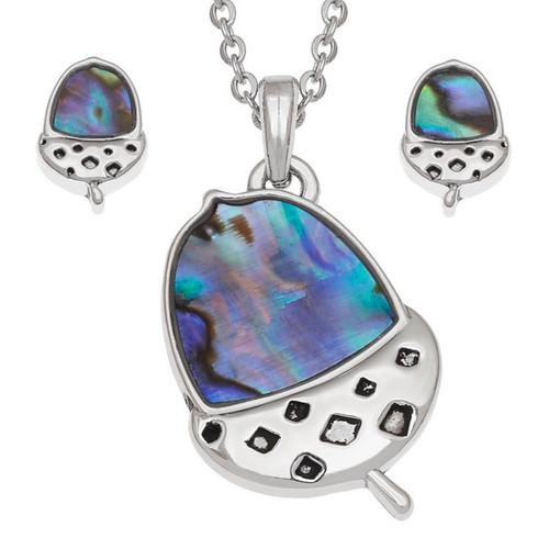 Tide Jewellery inlaid blue Paua shell  Acorn  pendant and earring set