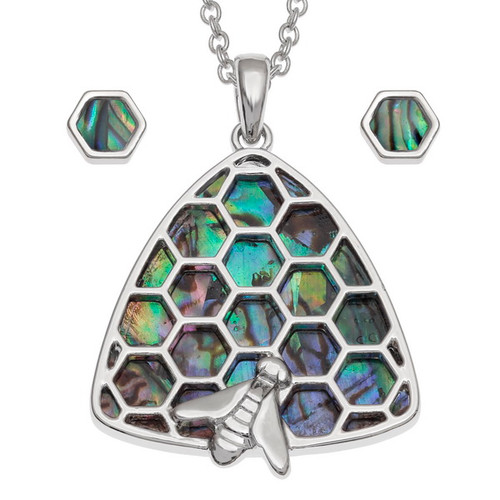 Tide Jewellery inlaid Paua shell beehive honeycomb pendant and earring set