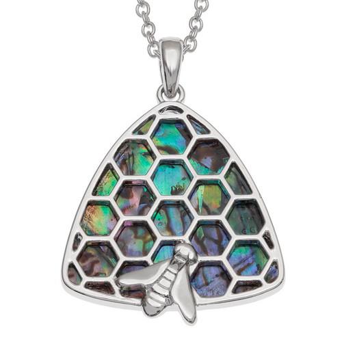 Tide Jewellery inlaid Paua shell  honeycomb beehive Pendent