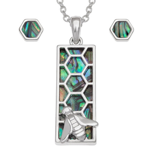 Tide Jewellery inlaid Paua shell rectangular honeycomb pendant and earring set
