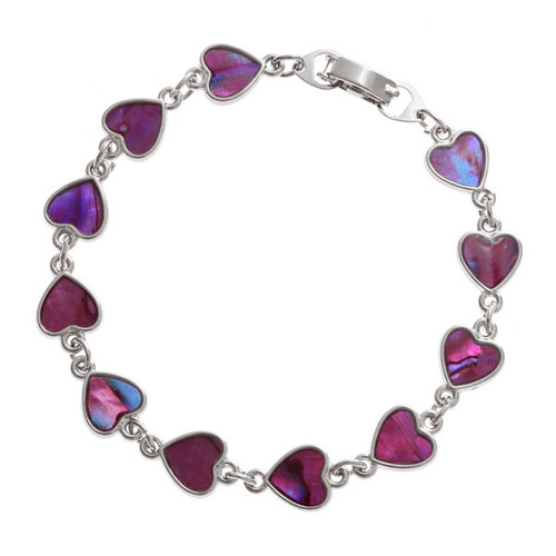 Tide Jewellery inlaid Paua shell heart bracelet