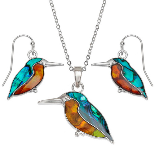 Tide Jewellery inlaid Paua shell Kingfisher pendant and earring set