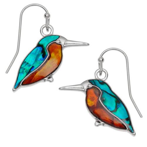 Tide Jewellery inlaid Paua shell Kingfisher hook earrings