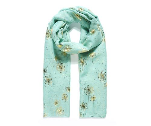 Aqua gold dandelion foil scarf