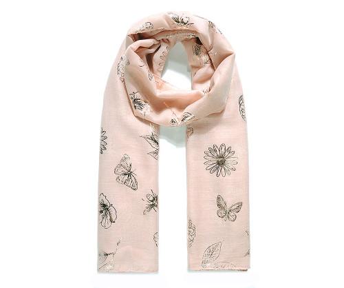 Beige rose gold botanical foil scarf
