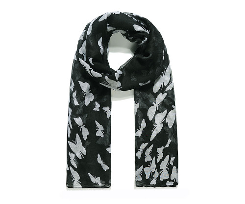 Black with white butterfly scarf