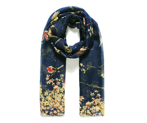 Navy bird and blossom scarf