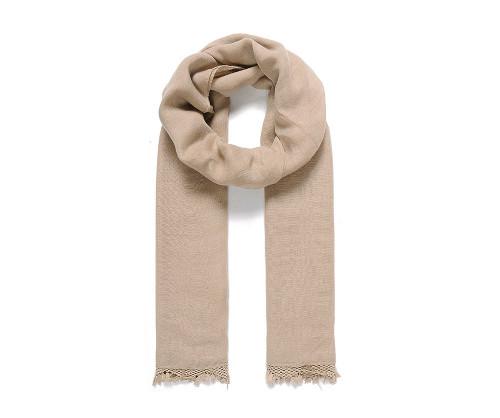 Beige lace trim scarf