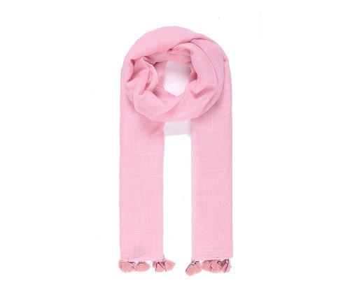 Pink tassel scarf