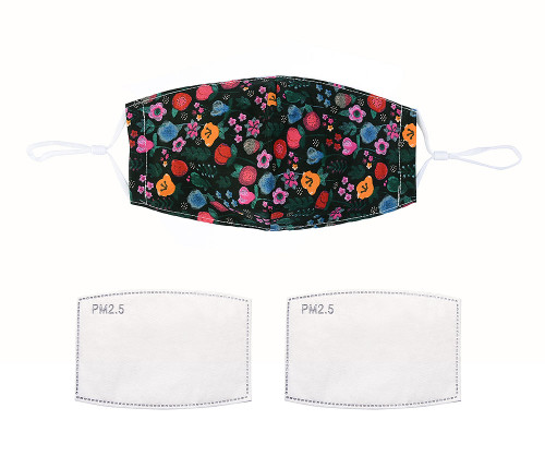 Dark Multi-floral 100% cotton face mask - Filter M/L