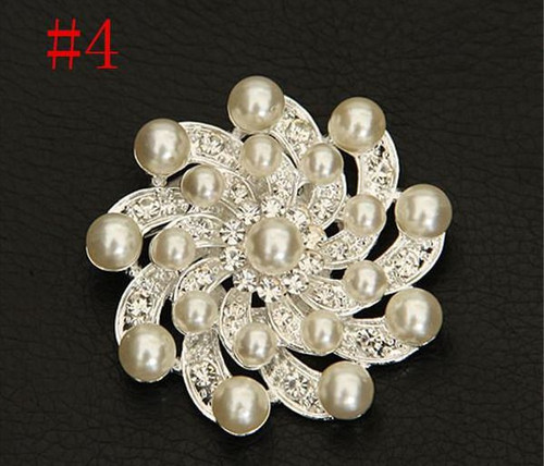 Flower Swirle Silver Pearl Crystal Rhinestone Flower Vintage Brooch with gift box