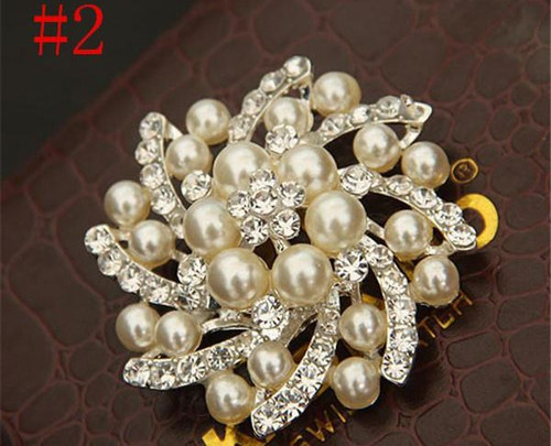 Start swirle Silver Pearl Crystal Rhinestone Flower Vintage Brooch with gift box