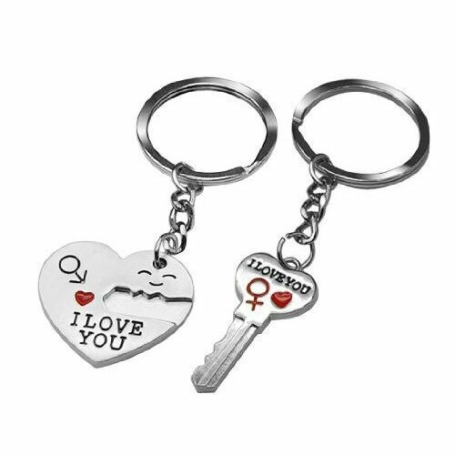 "Arrow ""I Love You"" Heart & Key Couple Key Chain Ring Keyring for Lover Gift with gift box"