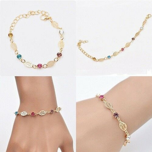 Charm Retro Women Girls Jewelry Rhinestone Leaf Chain Bracelet with gift box