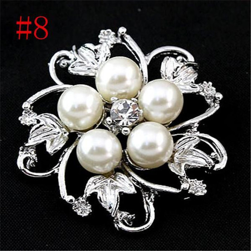 Five Leaf Silver Pearl Crystal Rhinestone Flower Vintage Brooch with gift box