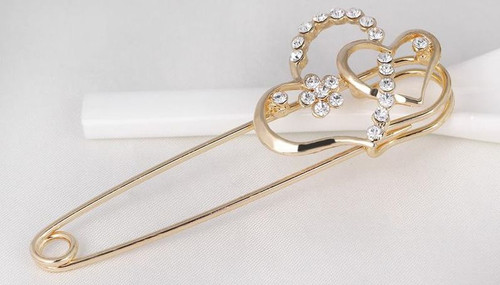 Heart Korean Pins with Crystal rhinestone Brooch with gift box