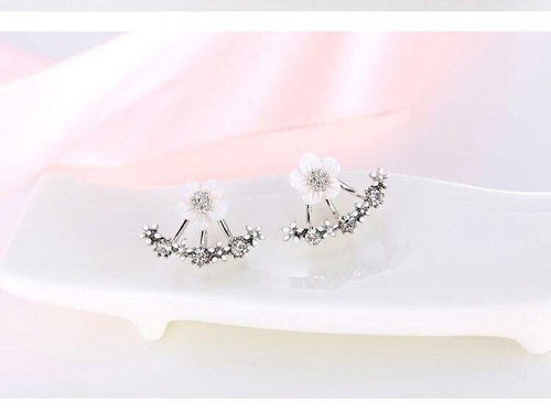 Ladies Ear Cuff Stud  Crystal Flower Shaped  Double Side Earring with gift box