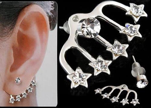 Ladies Ear Cuff Stud earrings Pentagram Silver Jewelry Pair (JW2013) with gift box