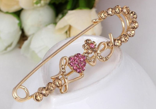 Love Korean Pins with Crystal rhinestone Brooch with gift box