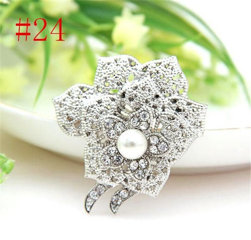Muli Leaf Silver Pearl Crystal Rhinestone Flower Vintage Brooch with gift box