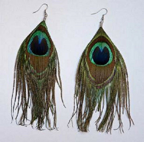 New Fashion Natural Pearl & Peacock Feather Earrings Pair with gift box