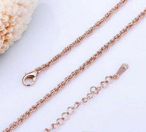 Rose Gold Plated Twist Rope Chain 1.5MM 26'' Chain with gift box