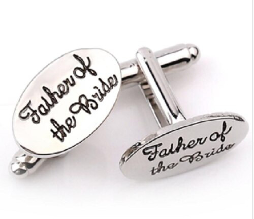 Father of the Bride' Silver Plated French Shirt Cuff Links with gift box