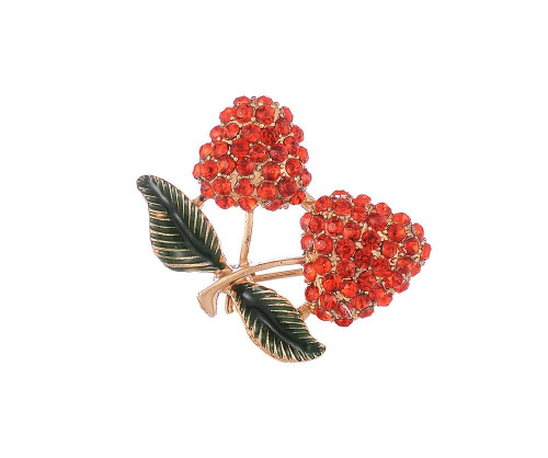 Diamante cherry brooch with gift box