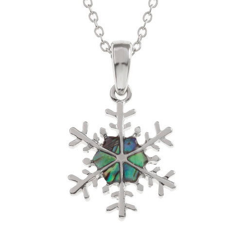 Tide Jewellery inlaid Paua shell snowflake pendant