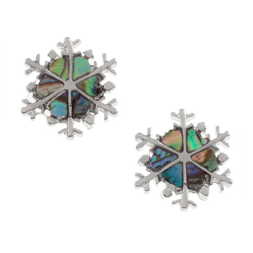 Tide Jewellery inlaid Paua shell snowflake stud earrings