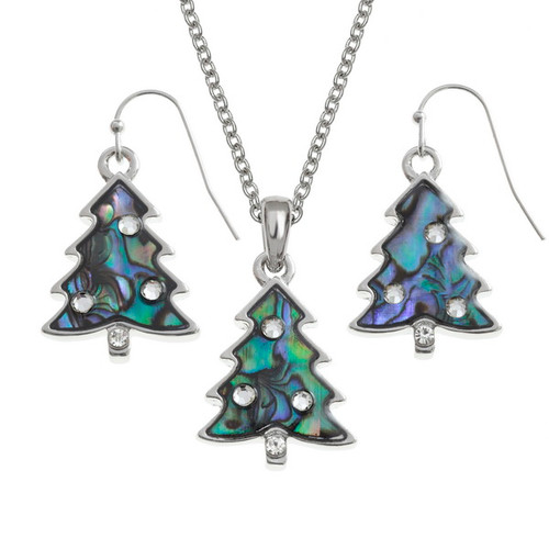 Tide Jewellery inlaid Paua shell Christmas tree pendant and earring set