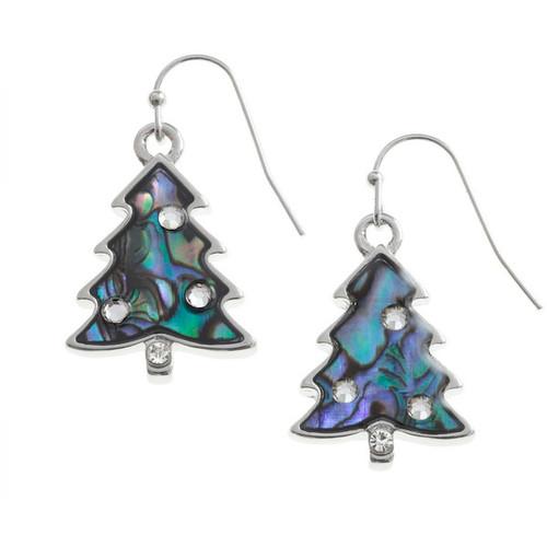 Tide Jewellery inlaid Paua shell Christmas Tree hook earrings