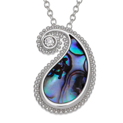 Tide Jewellery  inlaid Paua shell Paisley pattern pendant
