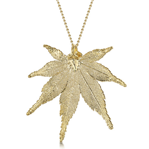 24K Gold Plated Leaf Necklace - Japanese Maple