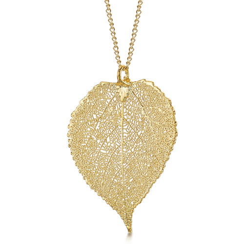 24K Gold Plated Leaf Necklace - Aspen