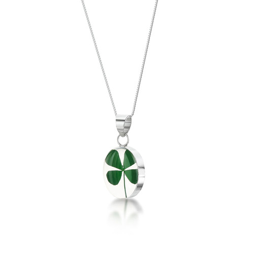 925 Silver Plated Pendant - Four Leaf Clover - Oval