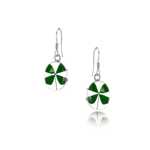 925 Silver Earring - Four Leaf Clover - Oval