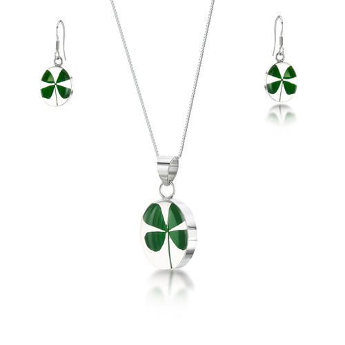 925 Silver Plated Four Leaf Clover Oval Pendant and Earring Set