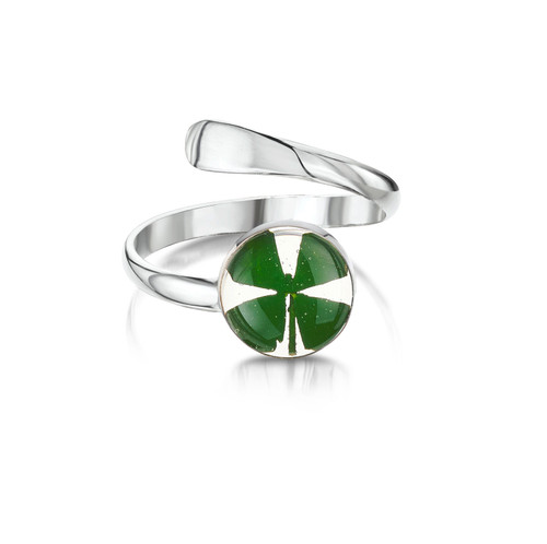 925 Silver adjustable Ring -  round four leaf clover