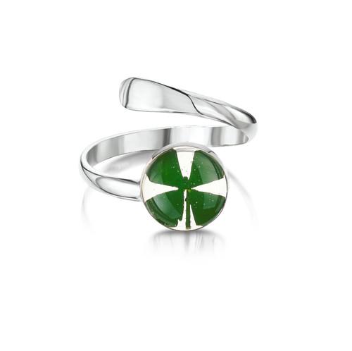 925 Silver adjustable Ring -  round four leaf clover